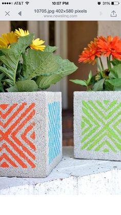Paint cinder block planters