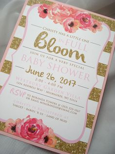 Pink floral baby shower hair tie favors vintage floral hair tie in full bloom watercolor floral and printed gold glitter baby shower invitation set filmwisefo