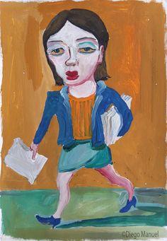 """Chica del centro de estudiantes"", gouache sobre papel, 24x 30 cm., 1998"