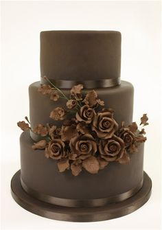 Chocolate lovers dream come true! Chocolate cake with chocolate roses
