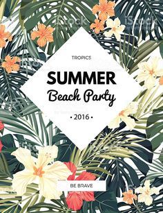 Bright hawaiian design with tropical plants and hibiscus flowers,. Midnight Summer, Hawaiian Designs, Summer Beach Party, Baby Animals Pictures, Party Poster, Hibiscus Flowers, Tropical Plants, Banner Design, Book Design
