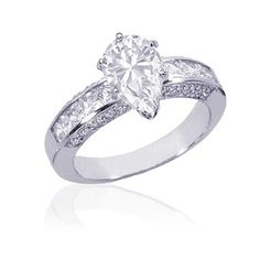 Pear Shaped Diamond Engagement Ring W Princess & Round Diamonds In Pave Setting (2.09 ctw) VS1 GIA
