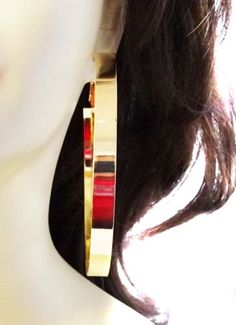 30d7b0f11 Details about LARGE 3.5 inch HOOP EARRINGS THICK SHINY SILVER OR GOLD TONE  HOOP EARRINGS