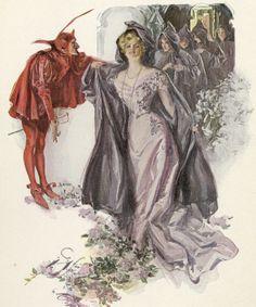 """An original antique print from Harrison Fisher's book """"A Dream of Fair Women"""" c-1907 Người phụ nữ hạnh phúc trong bộ váy hồng phấn nữ tính. Thân trên được thiết kế khá tỉ mỉ vỡi các hoạ tiết thêu hoa. Chiếc váy cũng giúp cô gái khoe được khuôn ngực đầy đặn, tạo điểm nhấn với chiếc vòng dài đơn giản."""