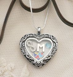 Autism Heart Locket, Autism Heart Necklace, Personalized Autism Necklace, Letter Birthstone, Autism Awareness Gifts, Autism Jewelry, Custom