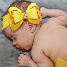 Yellow Big Bow Headband Yellow Baby Headband Baby by BySophiaBaby