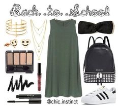 Back to school #2 by haleykiana on Polyvore featuring polyvore, fashion, style, Gap, adidas, Michael Kors, BauXo, Hollister Co., Stila, Kylie Cosmetics and clothing