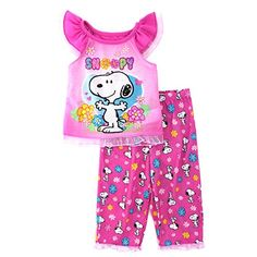519bf5e9a5 Peanuts Snoopy Girls Pink Poly Pajamas (S (6 6X)) Peanuts Worldwide