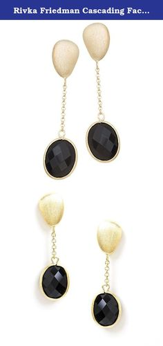 Rivka Friedman Cascading Faceted Oval Onyx Dangle Earrings. This pair of cascading oval Onyx earrings is sure to compliment all face shapes. The elongated design features a satin texture organic pebble shape post. Cascading with a fine cable chain is an oval faceted bezel set crystal. For pierced ears only, these earrings features a post and butterfly closure. Imported. Comes with Signature Rivka Friedman Pouch and Hangtag. All Rivka Friedman Jewelry is Nickel/Cadmium/Lead Free.
