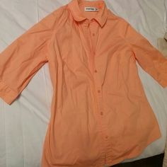 Coral Dress Shirt...3/4 Sleeve Very attractive color! Worn twice. St. John's Bay Tops Button Down Shirts