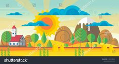 Beautiful Vector Autumn Abstract Landscape with Church Abstract Landscape, Beautiful, Dinosaur Stuffed Animal, Fonts, Images, Clip Art, Graphics, Invitations, Group