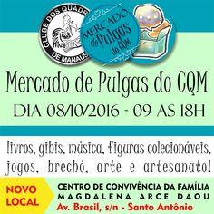 """Banner de divulgação do """"Mercado de Pulgas do CQM"""" de 08/10/2016."""
