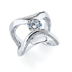 Tension-set diamond mounting in 14k white gold with 0.85 ct. t.w. side diamonds;