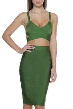Cleopatra Bandage Two Piece - Hunter Green