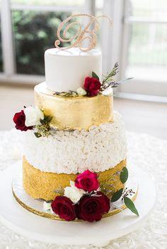 Gold Red White Wedding Cake