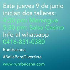 Este viernes 9/6 #AprendeABailar #Merengue a las 4:30pm #SalsaCasino a las 5:30pm Info al whatsapp 0416-831-0380 #Rumbacana #BailaParaDivertirte
