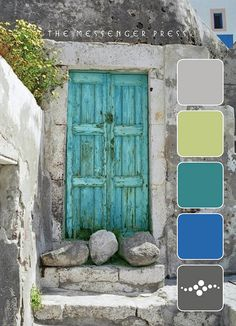rustic aqua door in stone building. Cool Doors, Unique Doors, The Doors, Windows And Doors, Front Doors, Turquoise Door, Purple Door, Aqua Door, Turquoise Stone