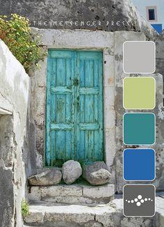 rustic aqua door in stone building. Cool Doors, Unique Doors, The Doors, Windows And Doors, Front Doors, Turquoise Door, Purple Door, Aqua Door, Turquoise Stone