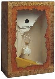 Joseph Cornell Title Untitled (Yellow Sand Fountain) Work Date 1955 Medium box construction Size h: 14 x w: x d: in / h: x w: x d: cm Robert Motherwell, Joseph Cornell Boxes, Collage Art, Collages, Shadow Box Art, Found Object Art, Up Book, Assemblage Art, Art Plastique