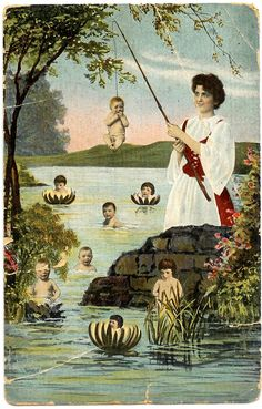 """Postcard:  """"Fishin's been good.  But catchin' mostly babies so I have to throw them back!"""""""