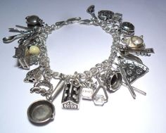 VINTAGE LOT 20 CHEF COOK CHARMS KITCHEN FOOD STERLING SILVER 925 CHARM BRACELET #ITALY #Traditional