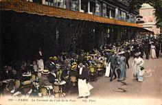 A vintage view of Cafe de la Paix in Paris from the outside