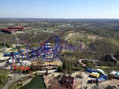 Kings Island's latest thrill ride, the world record-breaking Banshee roller coaster, makes its debut Friday. Great Wide Open, Kings Island, Roller Coasters, Amusement Parks, World Records, Aerial View, My Sunshine, Places To Visit, Beautiful