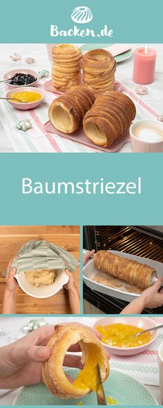Baumstriezel - recipe from Backen.de A Hungarian specialty that also makes German hearts beat faster: we know the tree sprout from the Christmas market, but you can also bake it at home. Pastry Recipes, Baking Recipes, Cookie Recipes, Snack Recipes, Dessert Simple, Pumpkin Spice Cupcakes, Meatloaf Recipes, Fall Desserts, Ice Cream Recipes