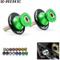 For KAWASAKI Ninja 300 ABS Ninja 600 636 1000 ZX-6R ER-6F ER-6N 6mm-10mm CNC Motorcycle parts Swingarm Sliders Spools Green #Affiliate