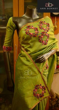 Cutwork Saree, Phulkari Saree, Silk Sarees, Saree Embroidery Design, Hand Embroidery Dress, Embroidery Stitches, Trendy Sarees, Fancy Sarees, Jute