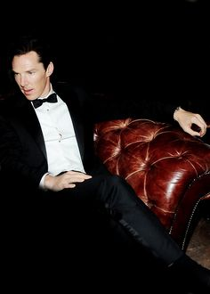 Sarah: Ben in a bow tie on a yummy leather sofa for your bow tie board. I want that sofa. (Yes, it's a picture of Benedict Cumberbatch, but I would rather have the sofa. It's distressed leather! Just sayin'...)