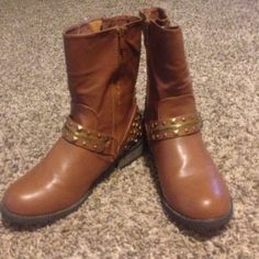 Boutique brown leather studded boots Boutique brown faux leather studded boots. Size 9 worn 3-4 times. New condition no scuffs or scratches. Forever Shoes