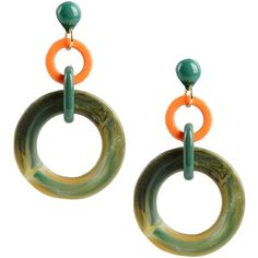 Dettagli Earrings ($29) ❤ liked on Polyvore featuring jewelry, earrings, green, two tone earrings, green earrings, two tone jewelry, green jewelry and earrings jewelry