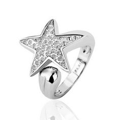 White Gold Plated Ring Star Crystal Ring