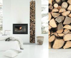 Afbeeldingsresultaat voor houtkachel inbouw hout opslag
