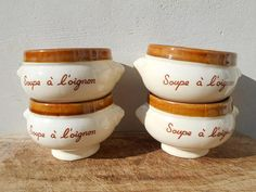 French vintage onion soup bowls set of 4, rustic chic soupe à l'oignon glazed bowls with animal handles. Beige brown set. French table ware.