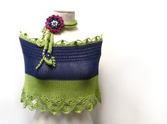 Hand Knit Color Block Cotton Capelet Shrug with Crochet by ixela, $40.00