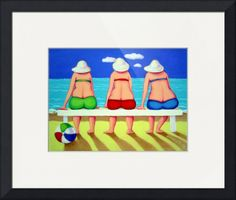 """""""Wave Watch  Funny Women Beach Seashore"""" by Rebecca Korpita, Mississippi Gulf Coast // Three women friends in colorful bathing suits seem mesmerized by the action of the waves in this colorful print about the seashore from an original painting by Rebecca Stringer Korpita. // Imagekind.com -- Buy stunning fine art prints, framed prints and canvas prints directly from independent working artists and photographers."""