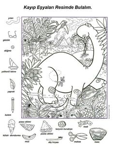 Dinosaurs for Kids - Everything for kids from neat dinosaur facts to coloring pages and pictures. Find some games, or try our printables. Colouring Pages, Coloring Books, Hidden Pictures Printables, Hidden Picture Puzzles, Hidden Objects, Activity Sheets, English Lessons, Preschool Activities, Mandala