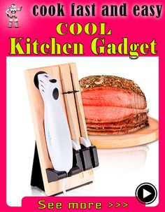 Nutrichef Portable Electrical Food Cutter Knife Set with Bread and Carving Blades, Wood Stand, One Size, White (Pack of Cool Kitchen Gadgets, New Gadgets, Cool Gadgets, Cool Kitchens, Clay Pizza Oven, Best Electric Knife, Carving A Turkey, Food Cutter, Electric Foods