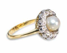 Sie suchen was besonderes? #Antik - Antiker Ring aus 750 Gelbgold - 12 Altschliff Diamanten 0,85ct Qualität TCR-P1 - Zuchtperle - Ringweite 58