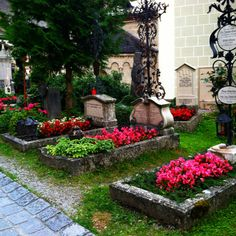 Cemetery in Sound of Music, Salzburg, Austria. They use graves as raised flower beds!