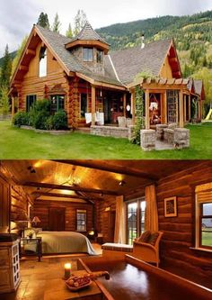 Mediterranean home design 34 Tiny House Cabin, Log Cabin Homes, Cottage Homes, Log Cabins, Cottage Design, House Design, Wooden Cottage, Wooden Houses, Dream House Exterior