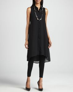 Eileen Fisher Waxed Short Moto Jacket, Georgette Tunic/Dress & Jersey Ankle Leggings - Neiman Marcus