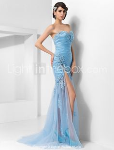 4720bb591f6   142.49  Sheath   Column Sweetheart Neckline Sweep   Brush Train Tulle  Open Back Cocktail Party   Formal Evening Dress with Beading   Split Front  by TS ...