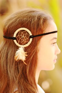 Natural string dream catcher head band...coming soon to caughtdreams.com