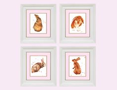 Charming BUNNY Decor, Set of 4 PRINTS,  bunny rabbit, rabbit, bunny prints, easter gift. $54.00, by EastWitching (Alison Fennell of Pontypridd, Wales)