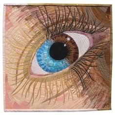 "The Bluest Eye (2007) 12"" x 12"", thread painting by Susan Brubaker Knapp.  Posted at Fiber Art Options"