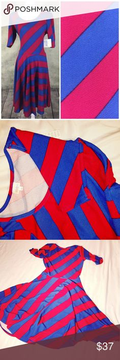 """NWT Lularoe Nicole size L Red and Blue stripes Fun fit and flare Lularoe Nicole dress. The red stripes almost look pinkish, but I think that is because of the way the blue contrasts with it. In fact, I googled """"Nicole Dress red and blue stripe"""" and """"Nicole dress pink and blue stripe"""" and found an equal number of them just like this one. 4th photo is the dress next to a true red tank top, just for comparison. This dress is perfect to accentuate your natural waist, as it flows from there…"""