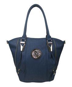Look at this #zulilyfind! Navy Blue Side-Zip Convertible Tote by AR New York #zulilyfinds